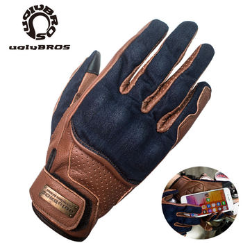 Touch Screen MOTO Gloves Denim With Sheepskin  Motorcycle Gloves Outdoor  Riding Glove Unisex Motocross moto gloves 1