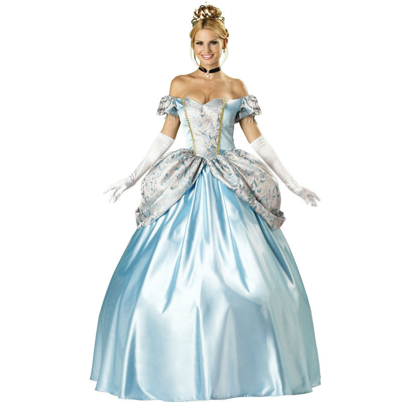New Adult Womens Sexy Blue Halloween Party Princess Costumes Outfit high quality Fancy Cinderella Cosplay Dresses With Gloves