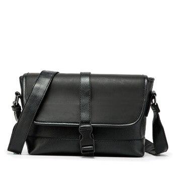 new Japanese style black PU cross-body bag male versatile cool messenger mass capacity