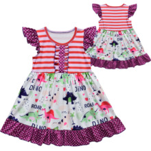 Girl Princess Dresses Dinosaur Cartoon Pattern Flying Sleeve Children's Dress Christmas Dress girl dresses new surprise cartoon pattern flying sleeve big eye doll children s dress