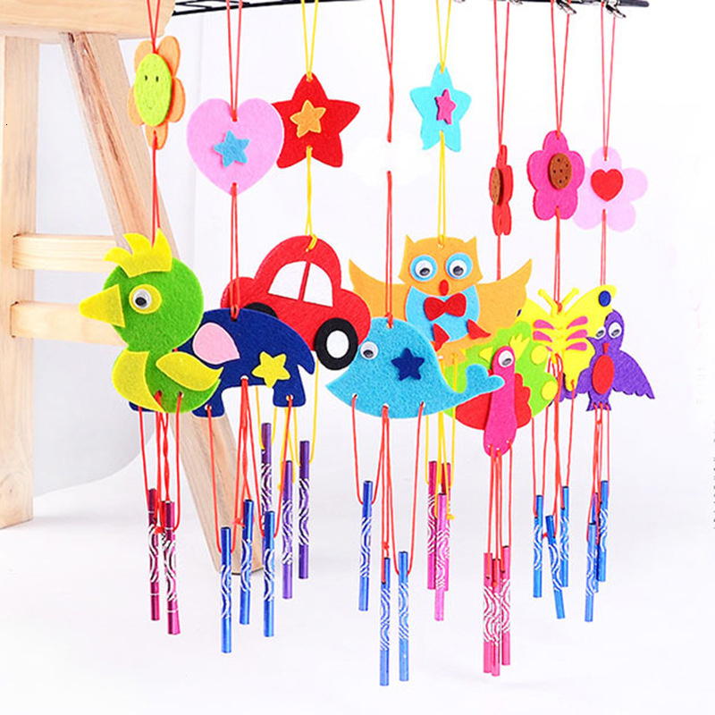 EVA 3D Wind Chimes Craft Toy Handmade DIY Toy Kits Windbell Arts & Crafts Hangings Stickers Kids Kits Birthday Educational Gift
