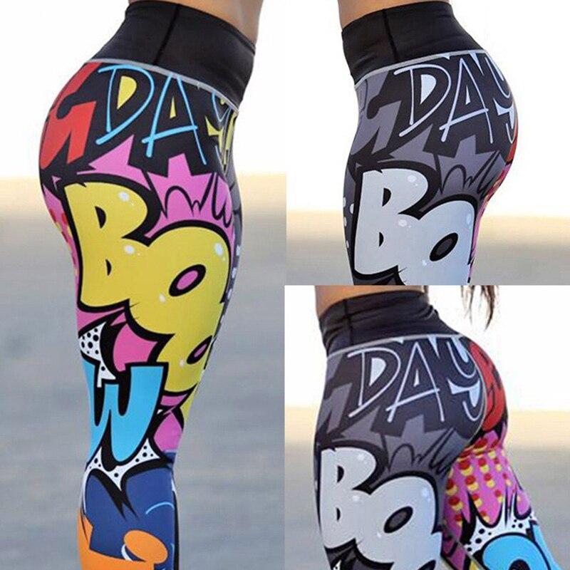 Women Hip Boom Letter Printing Pants Slim Pants Sports Leggings Women Jogger Collant Pantalones Sweatpants Punk  Jogger Collant