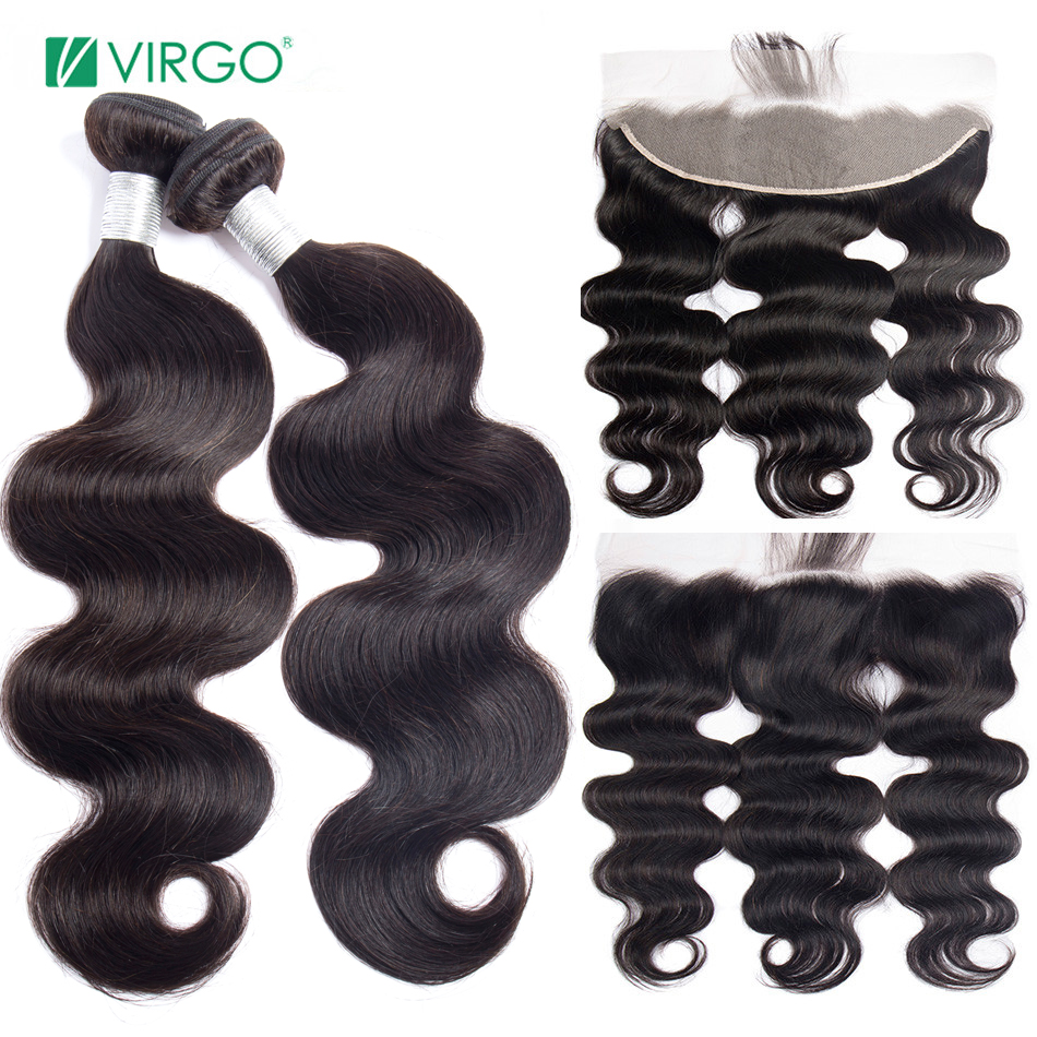 Virgo Brazilian Hair Weave Bundles Transparent Lace Frontal With Bundles Body Wave With Bundles Pre Plucked Human Hair Remy