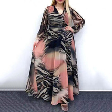 Muslim Plus Size Dress Spring Autumn The New Fashion Simple Designer Thin Best Sellers Printing V-neck Long Sleeve Matching Belt