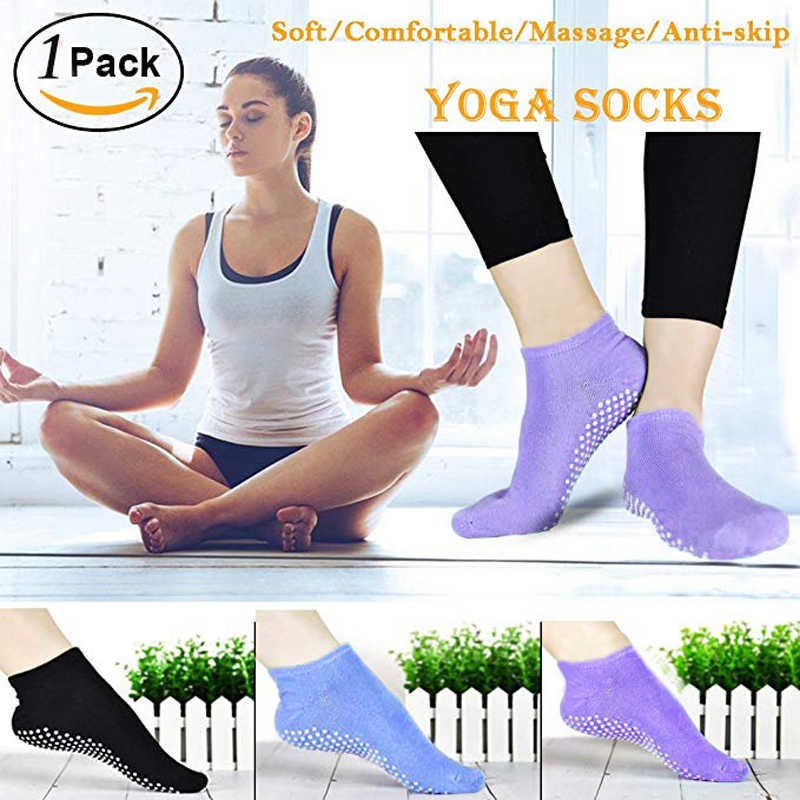 Women Yoga Socks Cotton Anti-slip Soft Grip Toe less Fitness Socks Purple