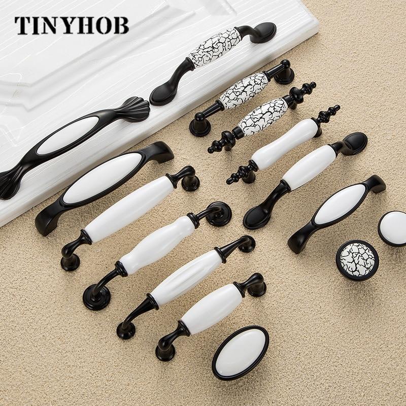 Черно-белые дверные ручки в сельском стиле, керамические ручки для ящиков, ручки для кухонного шкафа и мебели
