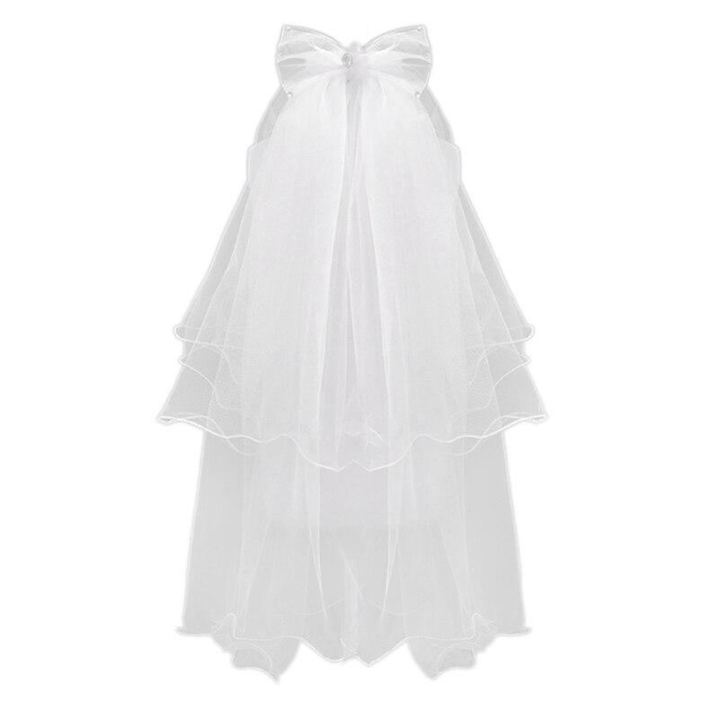 Women Wedding Veil Dress White Bowknot Layers Tulle Ribbon  Bridal Veils