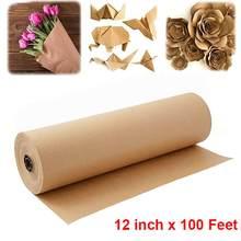Rollo de papel Kraft marrón para decoración del hogar, rollo de papel de regalo hecho a mano para fiesta de cumpleaños o boda, 30M