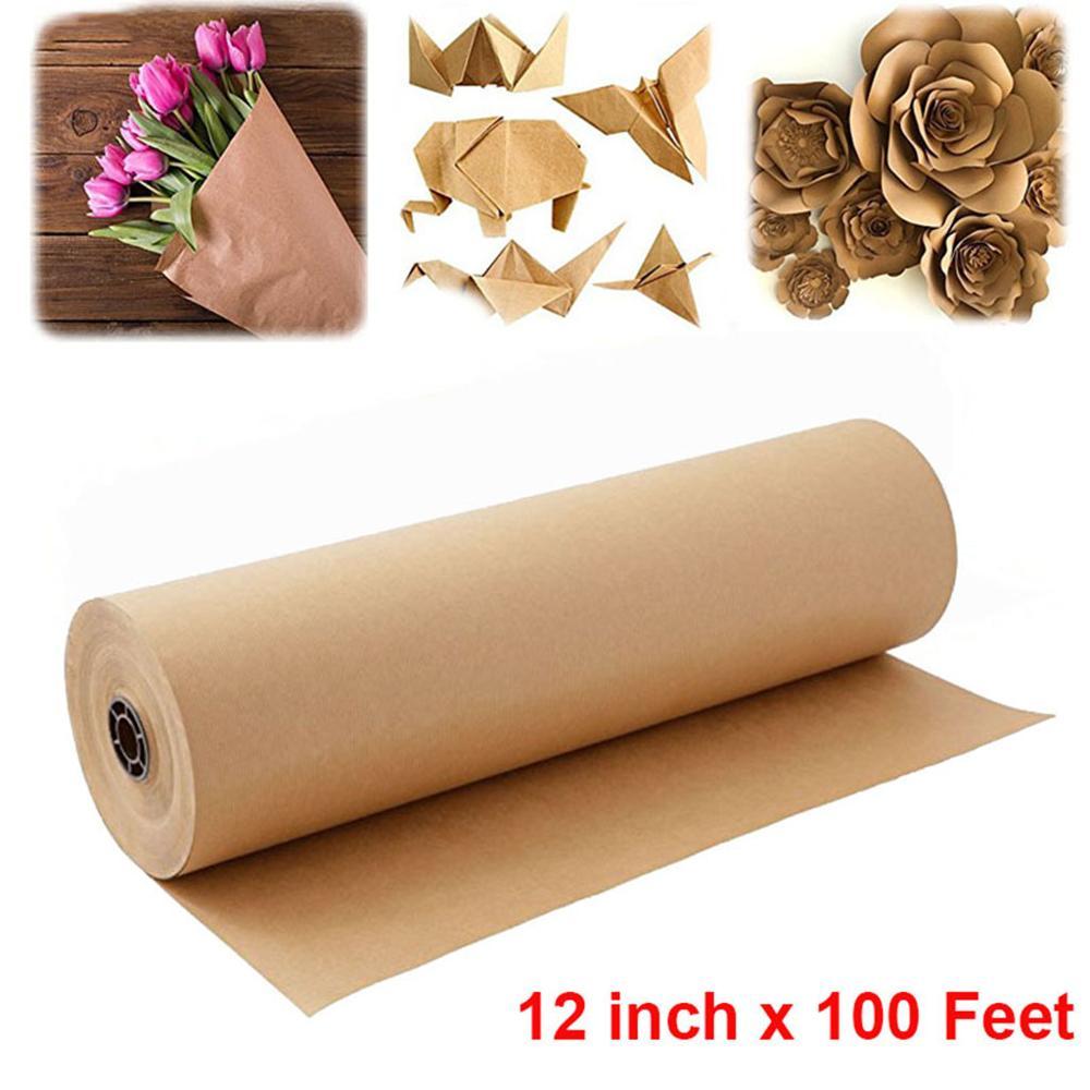 Rollo de papel Kraft marrón de 30cm y 30M para boda o fiesta de cumpleaños, rollo de papel artesanal para envolver regalos hechos a mano, póster de papel para decoración del hogar