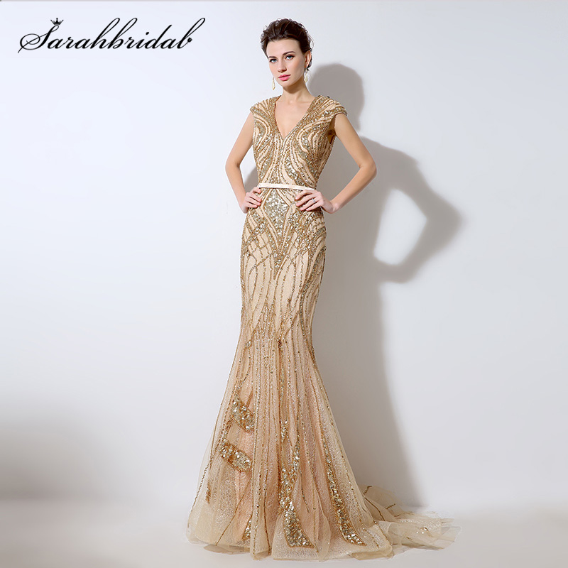 Luxury Gold Sequins Illusion Back Evening Dresses Sexy V-neck Beaded Lace Mermaid Prom Dress Dubai Rodes De Soiree LSX053