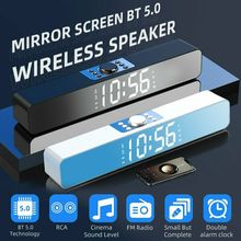 Bluetooth Speaker Alarm-Clock Subwoofer Bass Sound-Bar Led-Display AUX USB Wired PC Laptop