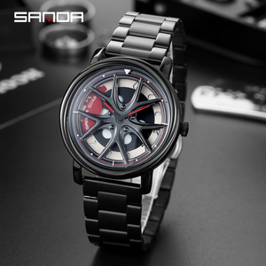 Image 5 - SANDA 2020 Hot Sell Men Watch Fashion Creative Rotating Dial Wheel Watches Steel Strap Quartz Wristwatch Relogio Masculino 1025