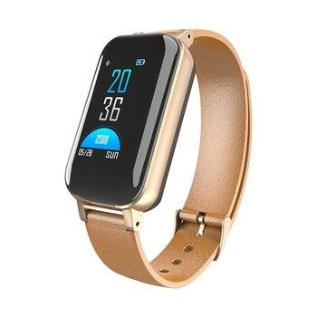 T89 Tws Smart Binaural Bluetooth Headphone Fitness Bracelet Heart Rate Monitor Smart Wristband Sport Watch Men Women Gold