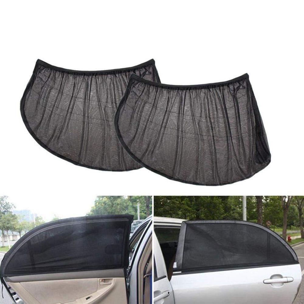 2 Pack Summer Car Rear Side Back Window UV Protection Sun Shade Anti-mosquito Car Net Mesh Curtain For Sedan 100 55cm 40 20inch