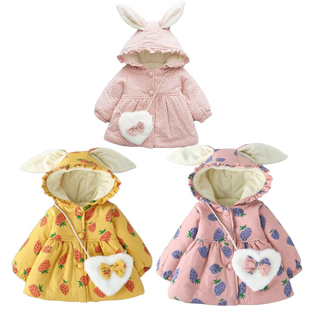 New Style Girl Rabbit Ear Winter Warm Cotton Coat Jacket Hooded Outerwear Casual Baby Girls Clothes Winter Parka With Heart Bag