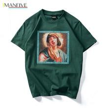 Hip Hop T shirt Quentin Tarantino Movie Pulp Fiction Virgin Mary Men Women Black Green Streetwear Cotton Top Tee