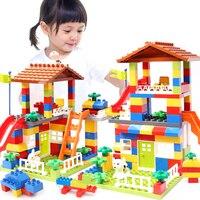 Wielkoformatowe bloki ślizgowe kompatybilne LegoINGlys Duploed dom miejski dach duże cząstki klocki klocki dla dzieci