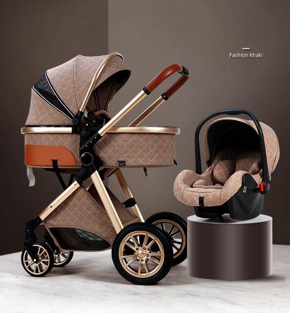 3 em 1 carrinho de bebê luxo alta paisagem carrinho de bebê portátil carrinho de bebê kinderwagen bebê berço dobrável carro novo 2