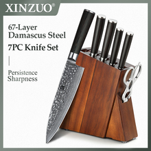 XINZUO 7 PCS Kitchen Knife Set Damascus Steel Meat Cleaver Chef Fruit Paring Knife With Excellent Acacia Wood/Knife Set BlocK