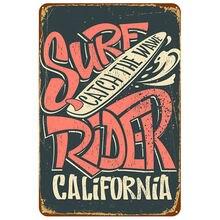 Серфинг катание catch the wawe Калифорния металлический жестяной