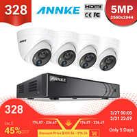 ANNKE 8CH 5MP system kamer bezpieczeństwa 5MP Lite 5w1 H.265 + DVR z 4 sztuk 5MP PIR HD EXIR Dome odporne na warunki atmosferyczne kamery monitoringu cctv Kit