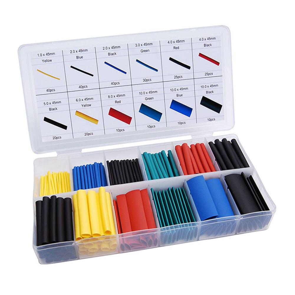 328 pces carro elétrico cabo kits de tubo de psiquiatra de calor tubo de tubulação envoltório manga sortidas 8 tamanhos misturados variedade cor shrinkable banheira