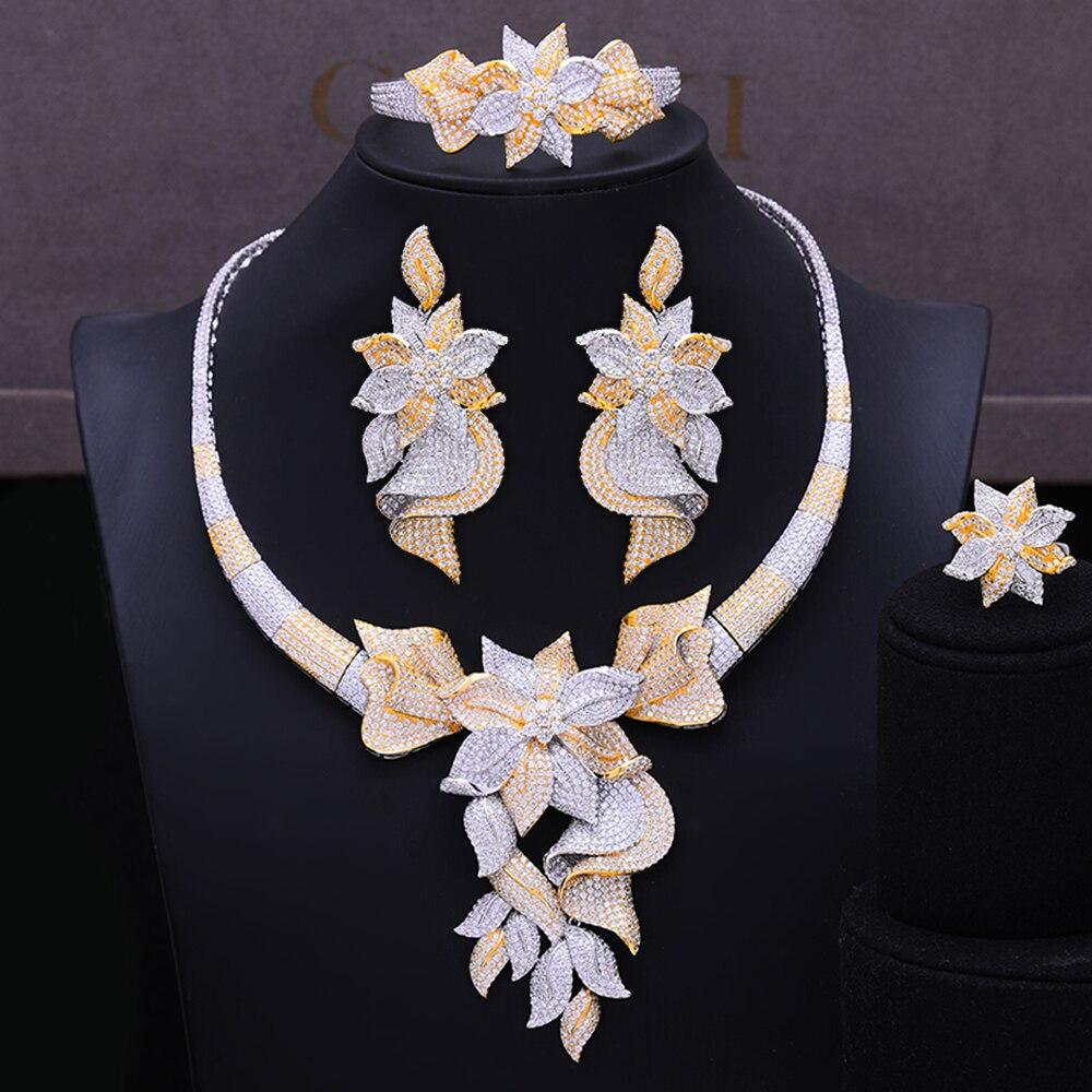 GODKI célèbre marque à la mode fleur breloques Lariat collier de luxe Nigeria ensembles de bijoux pour les femmes cubique Zircon mariage bijoux de mariée