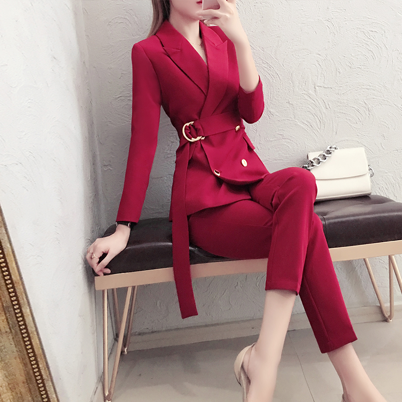 High-end Fashion British Style Suit Female Spring And Autumn New Tie With Waist Slimming Temperament Suit Nine Pants Two Sets