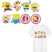 Iron on Cartoon Anime SpongeBob Patches Applique Heat Transfer Vinyl Stickers for Clothing DIY Stripes Clothes Decoration