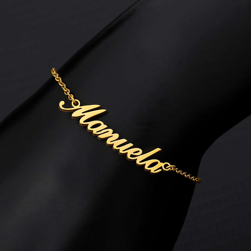 Personalized Custom Name Anklets For Women Gold Silver Color Stainless Steel Foot Chain Female Ankle Bracelet On The Leg Jewelry