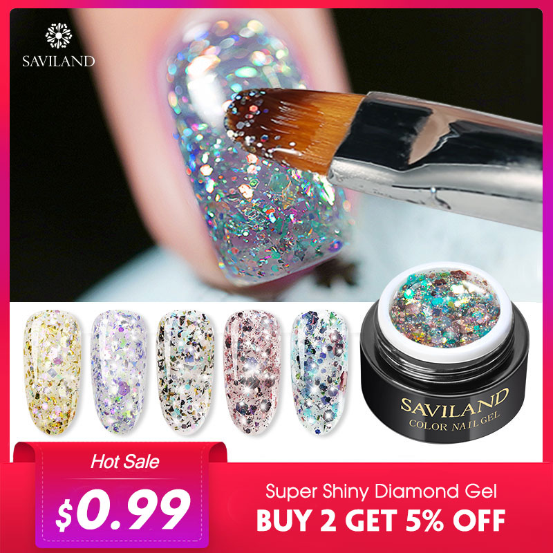 Saviland Diamond Nail Gel Varnish Glitter LED UV Gel Manicure Shiny Sequins Gel Nail Polish Vernis Semi Permanent Gel Lak