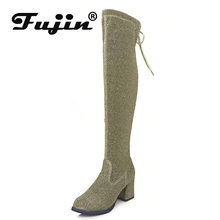 Fujin High Women Boots Winter Fashion High Heels Dropshipping Bling Round Toe Slip on Square Heel Causal Over The Knee Boots(China)