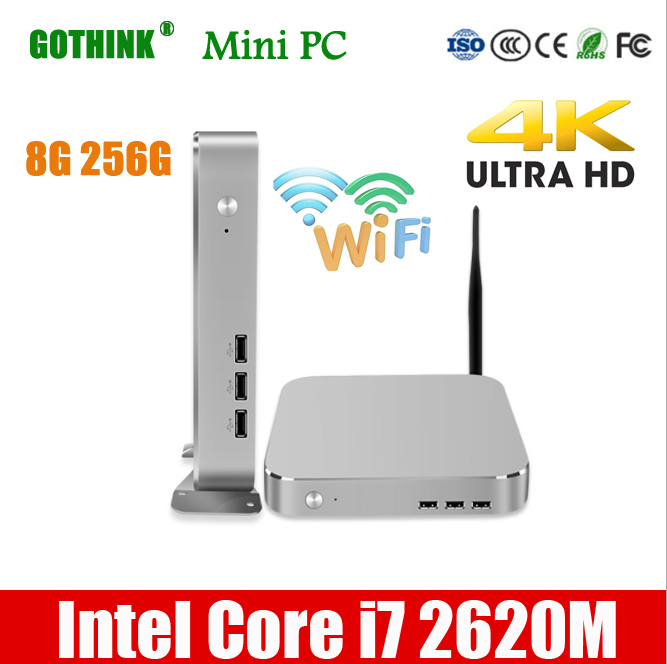 GOTHINK Mini Pc With WiFi Intel Core I7 2620M 8G 512G Dual-core Four-threaded 2.7Ghz Win XP 7/ 8/10 LINUX Pocket PC 4K HDMI VGA