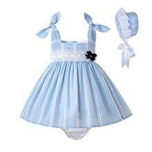 סיטונאי Pettigirl קיץ פעוט תחרה תינוקת כחול תלבושת + PP מכנסיים + מצנפת עם פרח תינוק חתונה שמלת ילדים בגדים