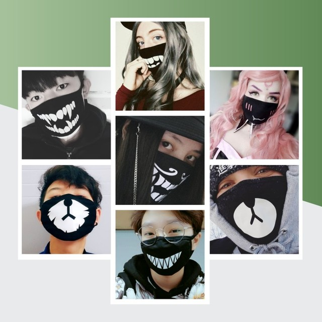 3Pcs/Set Cotton Dust Mask Cartoon Expression Teeth Muffle Chanyeol Face Respirator Anti Kpop Bear Mouth Mask 3