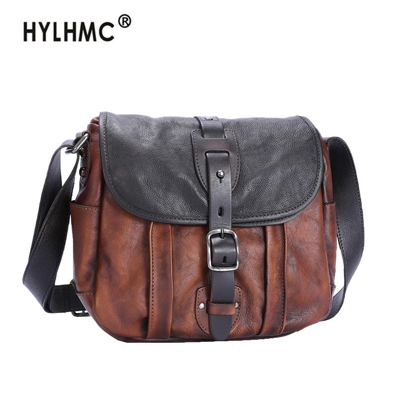 New vintage leather small shoulder messenger bag women bag real genuine leather female retro casual crossbody bags men bag 2020