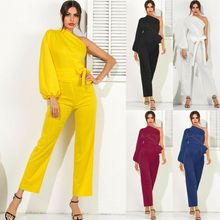 Goocheer New arrival 2019 Ladies Women One Shoulder Long Sleeve Evening Palazzo Jumpsuit Belt Autumn Playsuit Rompers