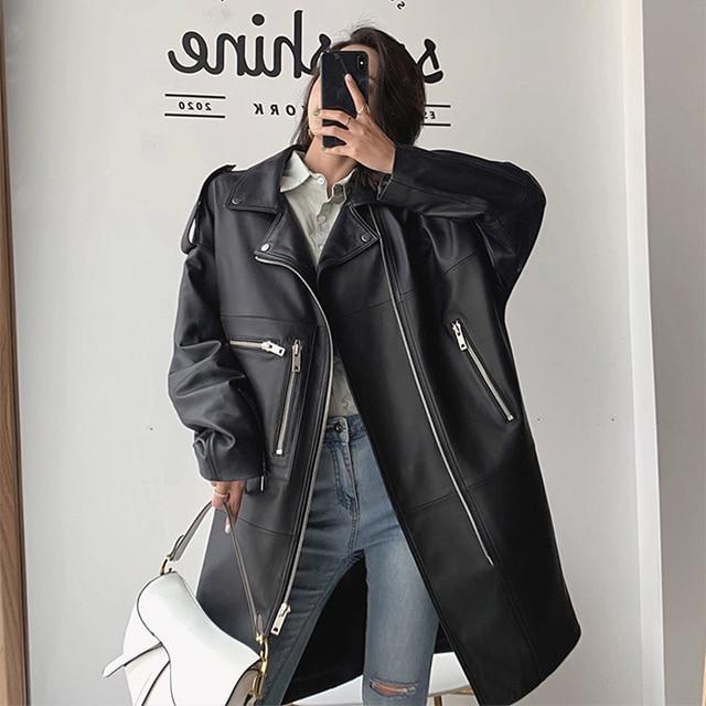 Nerazzurri surdimensionné noir long printemps femmes veste en cuir à manches longues goutte épaule fermeture éclair grande taille en vrac faux cuir manteau 3