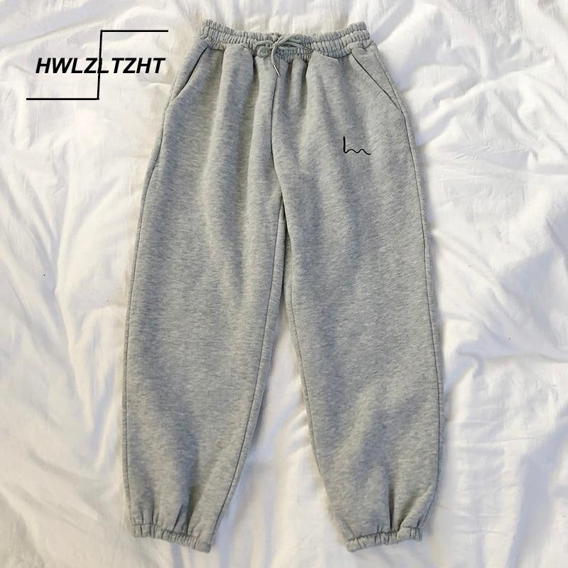 HWLZLTZHT Harajuku Joggers SweatPants Women Cotton High Waist Pants Boyfriend Style Plus Size Cargo Pants Autumn Streetwear