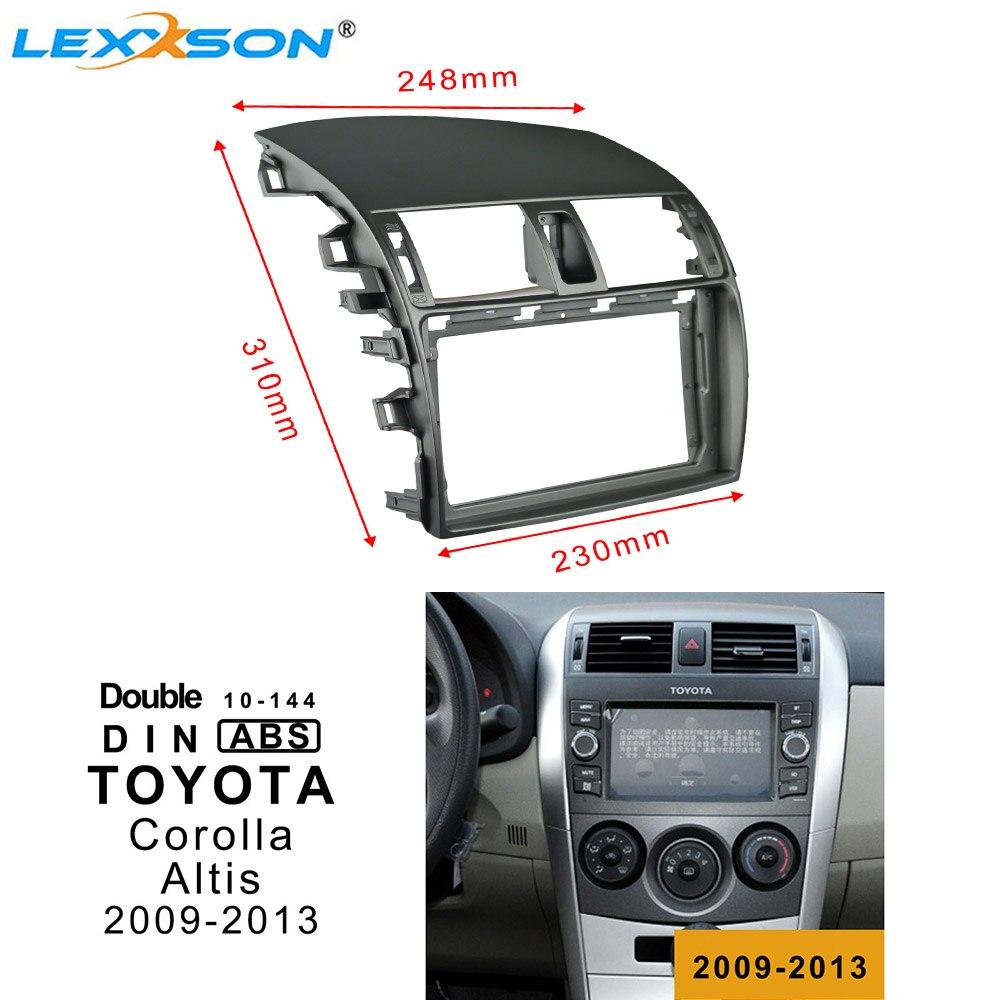 9 pulgadas de la Radio del coche de la Fascia Trim Kit para TOYOTA Corolla/Altis 2009-2013 doble Din Fascia adaptador de conexión de audio Facia del Panel en el tablero