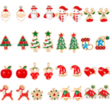 Enamel Elk/Santa Claus/Snowman/ Christmas Tree/Bell/Christmas fruit/ Hat Jewelry Christmas Earring For Women Girl New Year Gifts kids baby christmas hat santa claus reindeer snowman fashion party caps for boys girls christmas gifts
