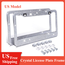3 Colors US Model License Plate Frame Bling Crystal Women License Plate Frame License Cover Holder Rhinestone Car License Frame