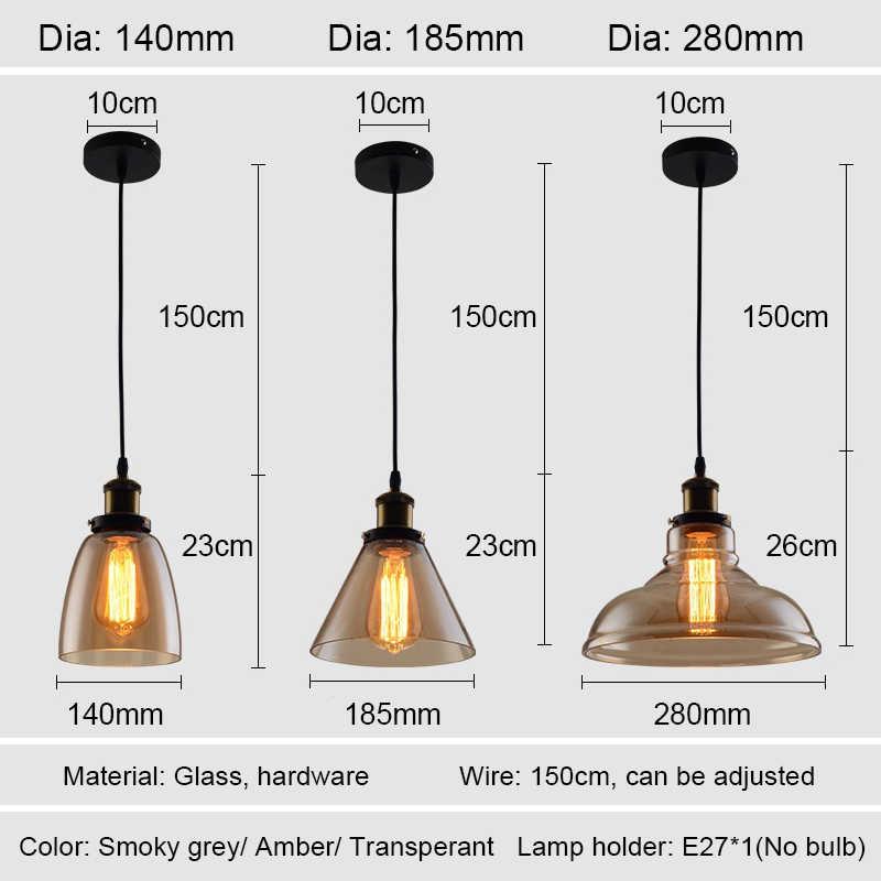 בציר תליון אורות זכוכית תליון מנורת לופט נורדי לתלות מנורת 28cm מעושן אפור תעשייתי מנורת אוכל חדר שינה מטבח e27