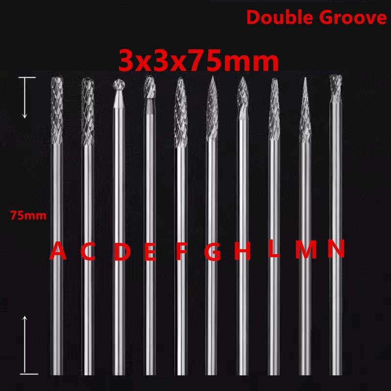 Jrealmer 1pcs 3x3x75mm Long Tungsten Carbide Burrs Rotary Burrs