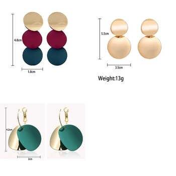 QTWINDY Round Circle Geometric Earrings for Women 2019 Fashion Statement Earrings Punk Metal Earring Acrylic Brincos Jewelry
