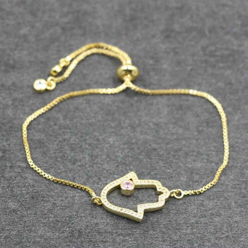 ANILLO Phụ Nữ Hamsa Fatima Tay Charm Bracelet Micro Pave Đồng Cubic Hạng AAA Tím Pha Lê Handmade Jewelry
