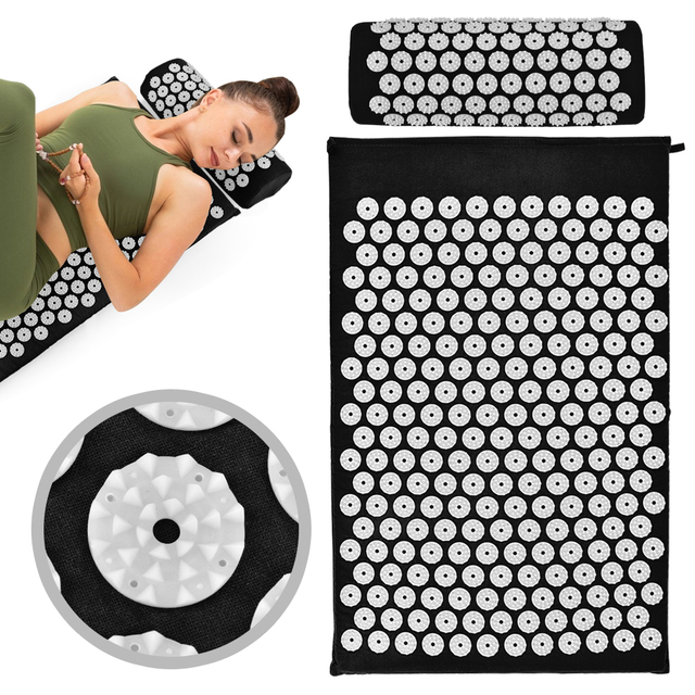 Acupressure Massager Cushion Yoga Mat Relieve Body Stress Back Pain Massage Spike with Pillow Fitness Set Muscle Pain Relief|Massage Cushion|   -