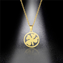 Simple Glossy Four-leaf Clover Necklace Temperament Wild Titanium Steel Clover Pendant Clavicle Chain Hypoallergenic