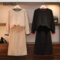 Plus Size Women Two Piece Set 2019 Autumn Winter New Sweater Tops And Skirt Knitted Suits Elegant Long Sleeve Pullovers XXXXL