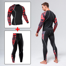 Mens sportswear suit gym tights training mens jogging compression sports fitness MMA